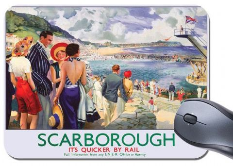 Scarborough LNER Vintage Railway Poster Mouse Mat. Train Travel Mouse Pad